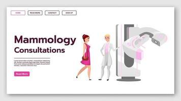 modelo de vetor de página de destino de consultas de mamologia. ideia de interface de site de teste de rastreamento de mama feminina com ilustrações planas. layout da página inicial de mamografia. banner da web, conceito de desenho de página da web