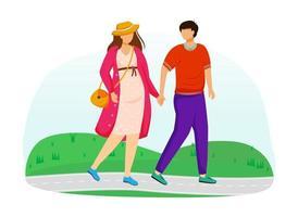 grávida e o marido caminham na ilustração vetorial plana do parque. jovem família se preparando para a paternidade. casal passeando esperando por personagens de desenhos animados isolados de bebês em fundo branco vetor