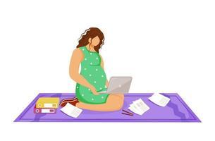 mulher grávida freelancer com laptop fazendo seu trabalho ilustração vetorial plana. trabalhador distante. jovem fazendo trabalho sentada no chão, personagem de desenho animado no fundo branco vetor