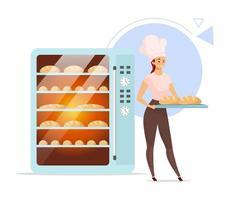 ilustração em vetor cor plana de padaria. padeiro feminino ao lado do forno. produtos de panificação. produção de pão. Padaria. indústria alimentícia. mulher de chapéu de chef. personagem de desenho animado isolado em fundo branco