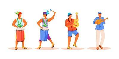 músicos de carnaval do Brasil conjunto de caracteres sem rosto de vetor de cor plana. homens latinos tocando instrumentos musicais tradicionais. machos em pé isolados ilustrações de desenhos animados em fundo branco