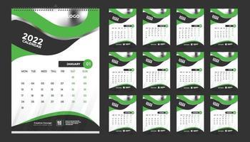 modelo de design de calendário de parede mensal para 2022, ano. semana começa no domingo. diário do planejador com lugar para foto. vetor