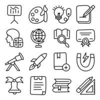 pacote de ícones lineares de ciência e educação vetor