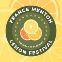 Projeto do emblema do festival do limão de Menton France vetor