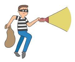 desenho animado ladrão anda com saco e ilustração vetorial de lanterna vetor