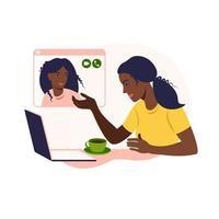 amigas africanas conversam online. menina sentada em uma cadeira na frente de um laptop e fala com um amigo. videoconferência, conceito de chat online. trabalho ou reunião online de casa. ilustração vetorial. vetor