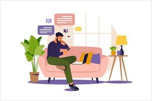 homem sentado em um sofá e trabalhando online em casa. freelance, educação online ou conceito de mídia social. ilustração do vetor isolada no branco. estilo simples.