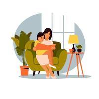 mãe lendo para a filha sentada no sofá com o livro. ilustração em vetor de um design plano.