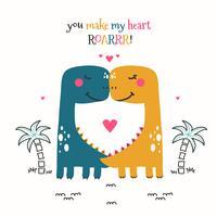 Vetor de casal dinossauro
