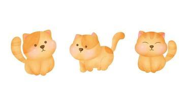 conjunto de gatos gordinhos desenhados à mão em aquarela vetor