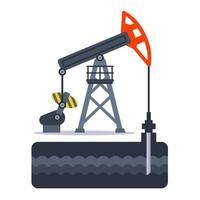 extração de óleo do solo usando uma plataforma de petróleo. ilustração vetorial plana. vetor
