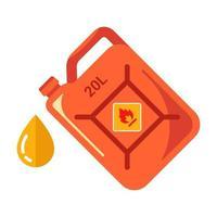 vasilha de ferro vermelha com gasolina amarela. ilustração vetorial plana. vetor