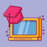ilustração de desenho animado isolado conceito de graduação online vetor