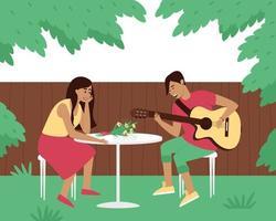 o guitarrista toca uma serenata no quintal de sua mulher vetor