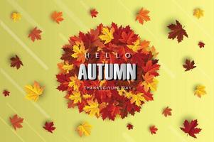 banner de fundo de folha de bordo de outono vetor