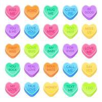 Doces de 25 namorados definir ilustração em vetor design estilo simples isolada no fundo branco. doce forma de coração doce com texto de conversas de inspiração e doces de data tratam, símbolos do dia dos namorados.