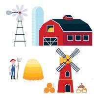 campo harvestind e agricultura conjunto e ferramentas celeiro com moinho de vento e silo, moinho com fardo de feno e sacos de farinha e fazendeiro com balde de forkm de feno e pilha de vetor de estilo plano de feno isolado