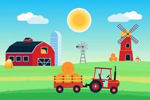vila colhendo cartaz, banner ou papel de parede da paisagem. o trator com semirreboque e fardo de feno, celeiro vermelho com silo, moinho de vento e moinho com farinha, produzindo ilustração em vetor design estilo simples.