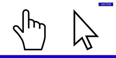 seta branca e ponteiro do cursor com a mão do dedo com ícones de ângulos arredondados ilustração vetorial conjunto isolado no fundo branco vetor