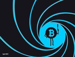 Bitcoin cripto-moeda no círculo de ilustração vetorial de barril estriado. agente secreto, detetive, personagem cunhado de espião com uma arma de ilustração em estilo simples vetor