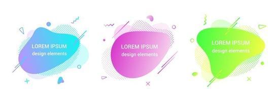 3 moderno líquido irregular ameba forma de bolha elementos abstratos gráfico estilo plano design fluido ilustração vetorial definir banner modelo de forma simples para apresentação, folheto, isolado no fundo branco vetor