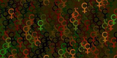 textura de vetor verde e amarelo claro com símbolos dos direitos das mulheres.