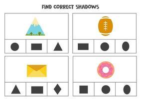 encontre a sombra correta dos objetos. jogos de cartas de clipe para impressão para crianças. vetor