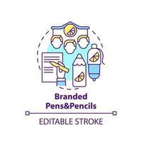 ícone do conceito de canetas e lápis de marca vetor