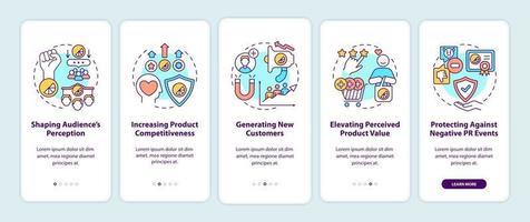 benefícios da marca forte integrando a tela da página do aplicativo móvel com conceitos vetor