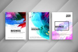 Conjunto de modelo de folheto abstrato colorido aquarela negócios vetor