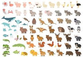 floresta isolada bonita, oceano do mar, savana, fazenda, animais de zoológico. grande conjunto de vetor porco coala baleia vaca urso leão tigre canguru quokka lobo cavalo girafa hipopótamo pato zebra caranguejo elefante em estilo simples