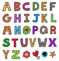 alfabeto de doodle maiúsculo vetor
