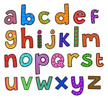 alfabeto doodle em minúsculas vetor