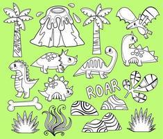 elementos de coloração de dinossauros vetor