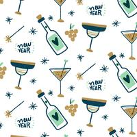 Padrão feliz ano novo com champanhe, taças e estrelinhas vetor