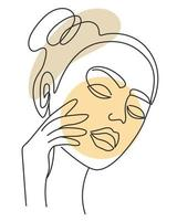 rosto de mulher frontal com arte vetorial de mão vetor