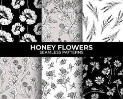 coleção de padrões sem emenda modernos de flores de mel para design e sublimação de tecido têxtil. vetor