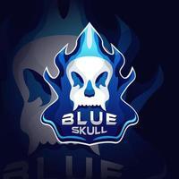 logotipo da caveira azul vetor