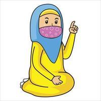 mulher muçulmana adicionar conselhos ou estudar crianças, mês do ramadã, usando máscara e ilustração de protocol.character saudável. vetor