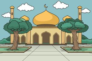 mesquita de cúpula dourada com um grande jardim. vetor. livro infantil. vetor