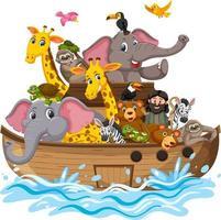 animais na arca de noé com ondas do mar isoladas no fundo branco vetor