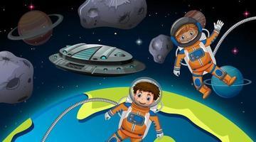 crianças astronautas na cena espacial vetor