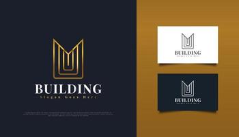 design de logotipo ouro imobiliário com a letra inicial m no conceito minimalista. construção, arquitetura ou modelo de design de logotipo de construção vetor