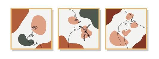 coleção de composições pintadas à mão para decoração de parede, cartão postal ou design de capa de brochura em arte estilo vintage. eps10 do vetor