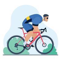 ciclista profissional em uma bicicleta de estrada vetor