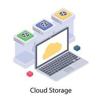 conceitos de armazenamento em nuvem vetor