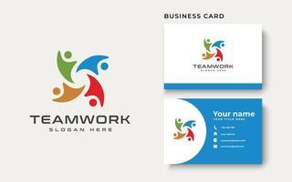modelo de logotipo abstrato do trabalho em equipe. ilustração vetorial vetor