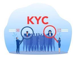 kyc ou conheça seu cliente com criminoso por meio de um ilustrador vetorial de lupa vetor