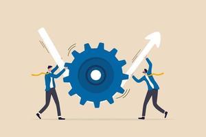transformação ou melhoria de negócios, fluxo de trabalho de execução para aumentar a produtividade e eficiência, conceito de lucro de investimento, parceiro empresário ajudam a girar a roda dentada para fazer a seta subir. vetor