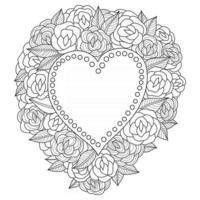 Coração de flores desenhado à mão para livro de colorir adulto vetor